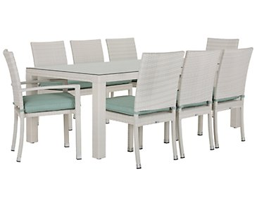 "Bahia Teal 84"" Rectangular Table & 4 Chairs"