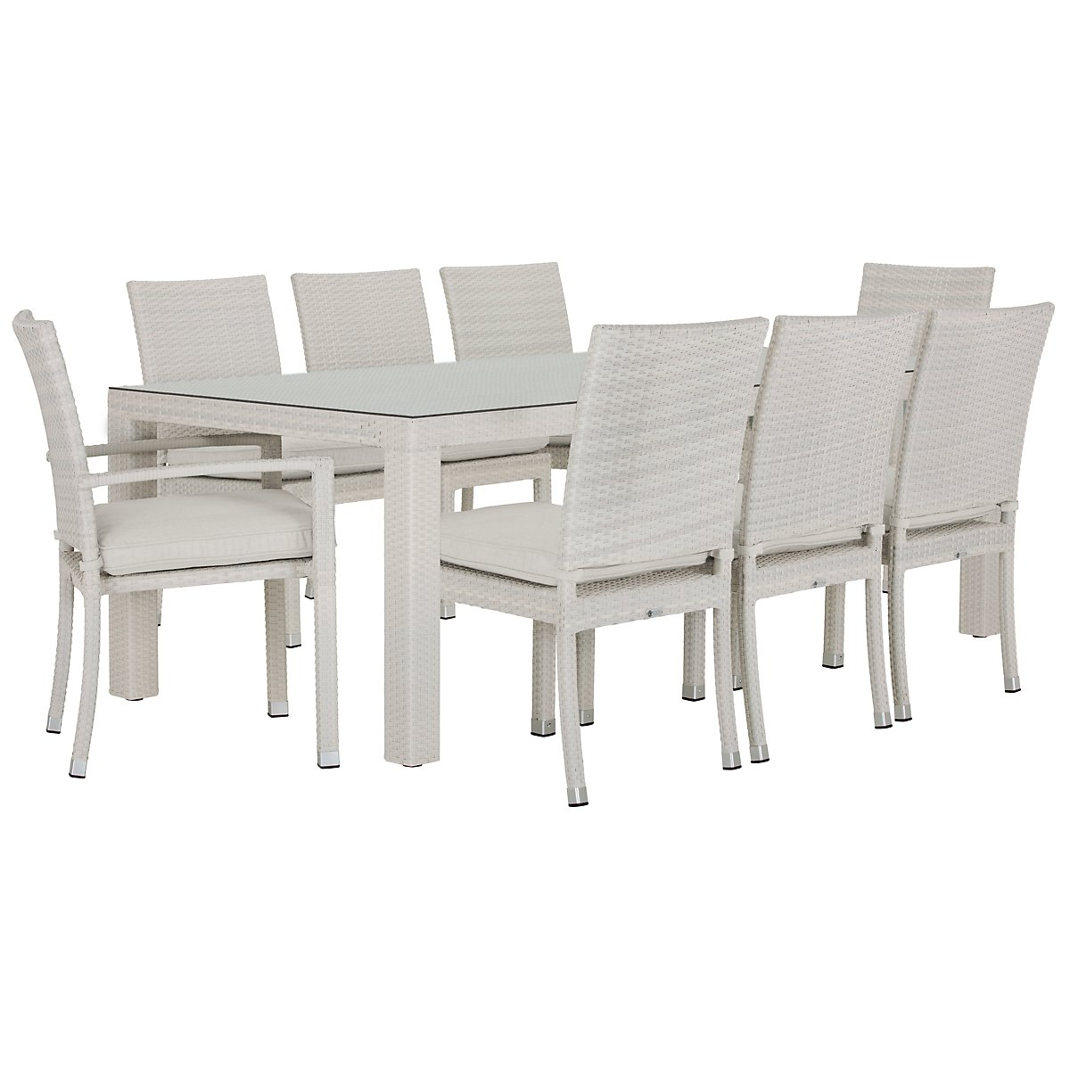 City Furniture Bahia White Rectangular Table Chairs - Rectangle table with 4 chairs
