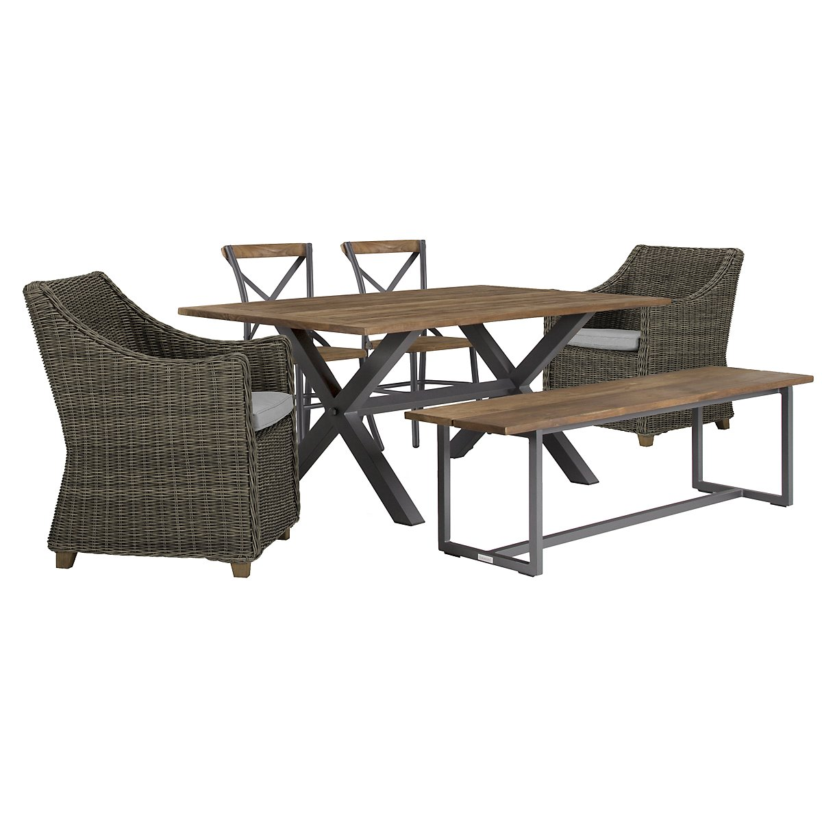"Canyon Gray 72"" Rectangular Table & Mixed Chairs"