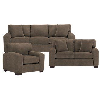 Adam Dark Brown Microfiber Living Room