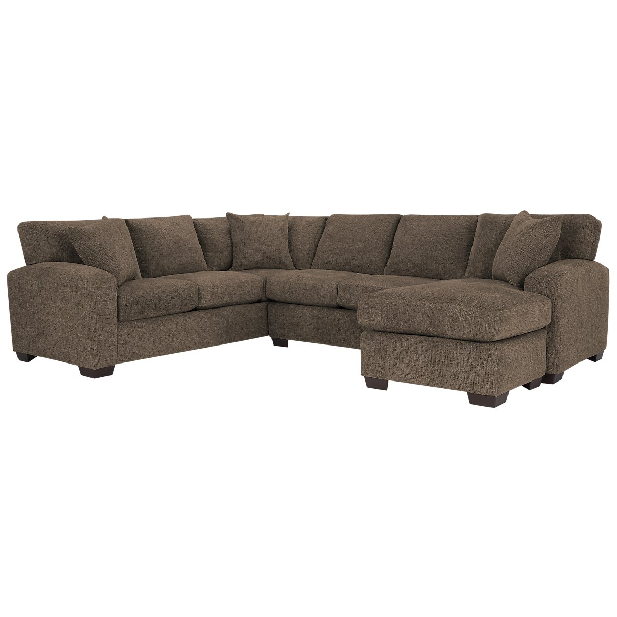 city furniture adam dark brown microfiber right chaise
