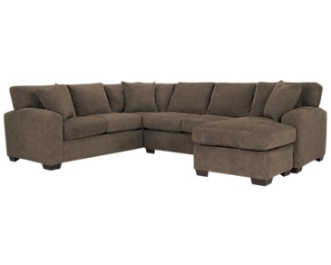 Adam Dark Brown Microfiber Right Chaise Sectional