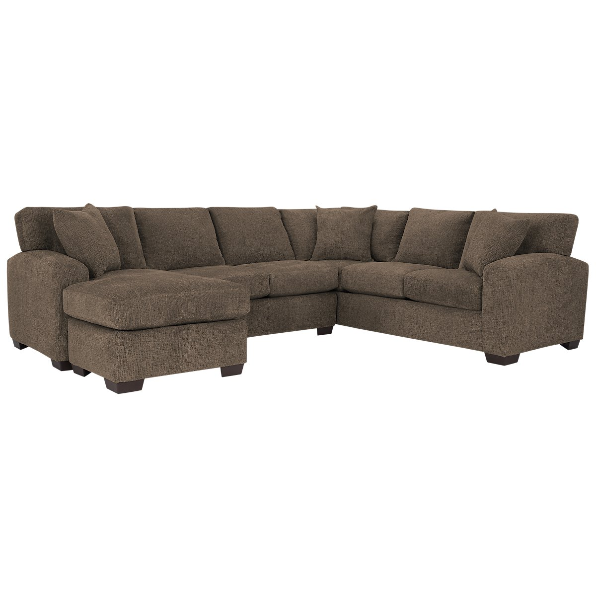 City furniture adam dark brown microfiber left chaise for Brown sectional with chaise