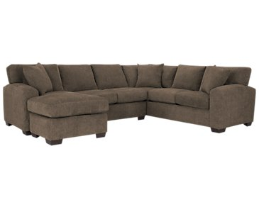 Adam Dark Brown Microfiber Left Chaise Sectional