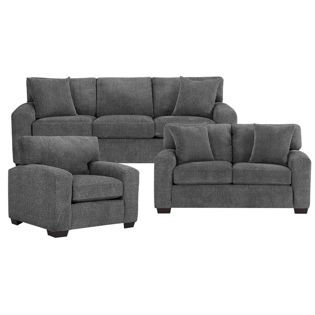Adam Dark Gray Microfiber Living Room - City Furniture: Adam Dark Gray Microfiber Living Room