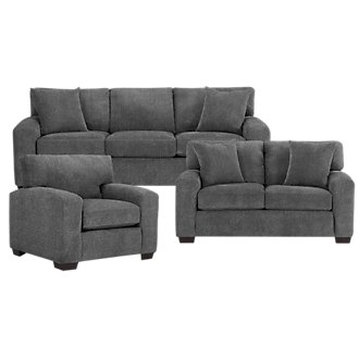 Adam Dark Gray Microfiber Living Room