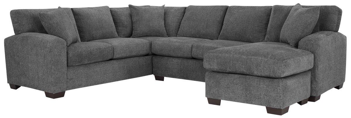City Furniture Adam Dark Gray Microfiber Right Chaise Sectional