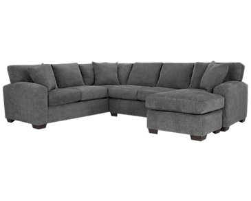 Adam Dark Gray Microfiber Right Chaise Sectional
