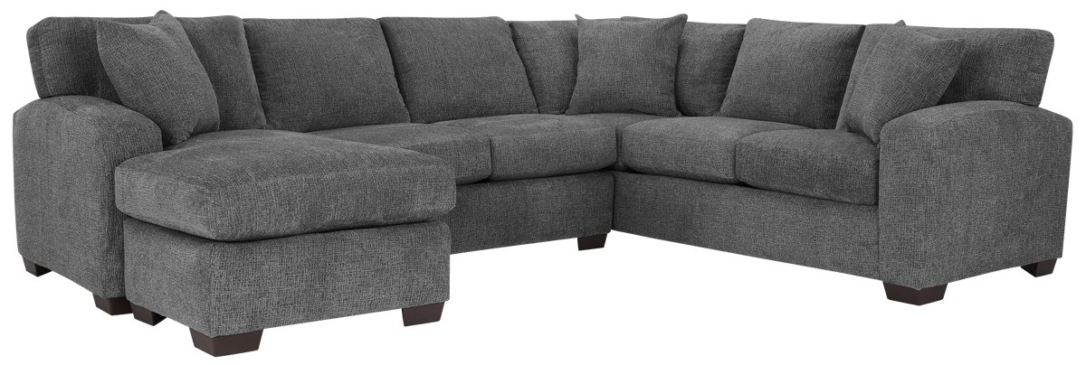 City Furniture: Adam Dark Gray Microfiber Left Chaise