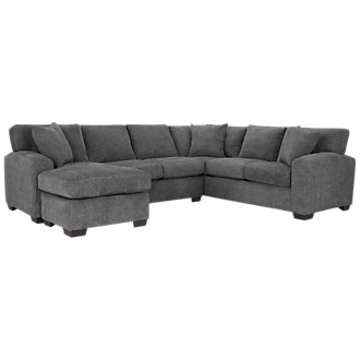 Adam Dark Gray Microfiber Left Chaise Sectional
