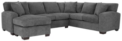 Adam Dark Gray Microfiber Left Chaise Sectional  sc 1 st  City Furniture : microfiber chaise sectional - Sectionals, Sofas & Couches