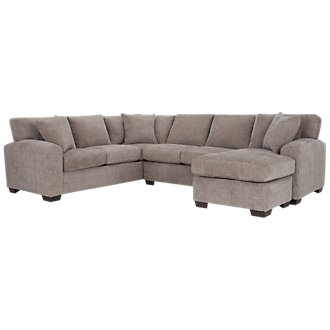 Adam Dark Taupe Microfiber Right Chaise Sectional