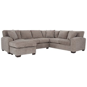 Adam Dark Taupe Microfiber Left Chaise Sectional