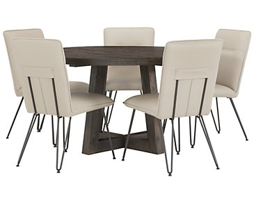 Orson Dark Tone Round Table & 4 Upholstered Chairs