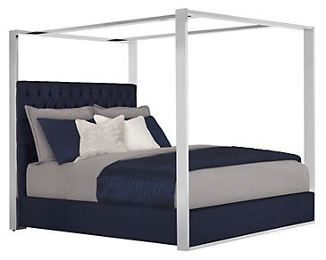 Neo Dark Blue Canopy Bed