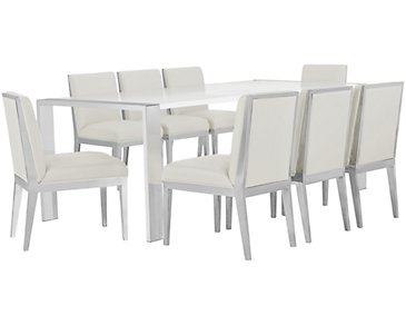 Neo White Rectangular Table & 4 Metal Chairs