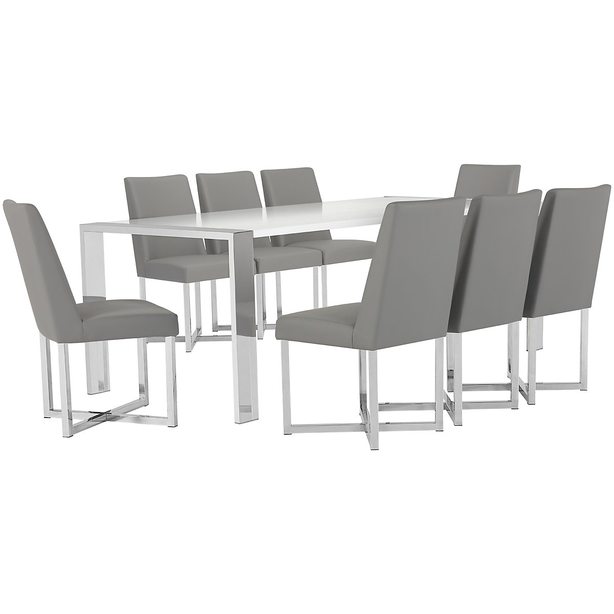 Neo Gray Rect Table & 4 Upholstered Chairs