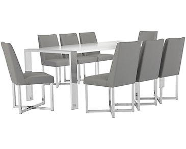 Neo Gray Rectangular Table & 4 Upholstered Chairs