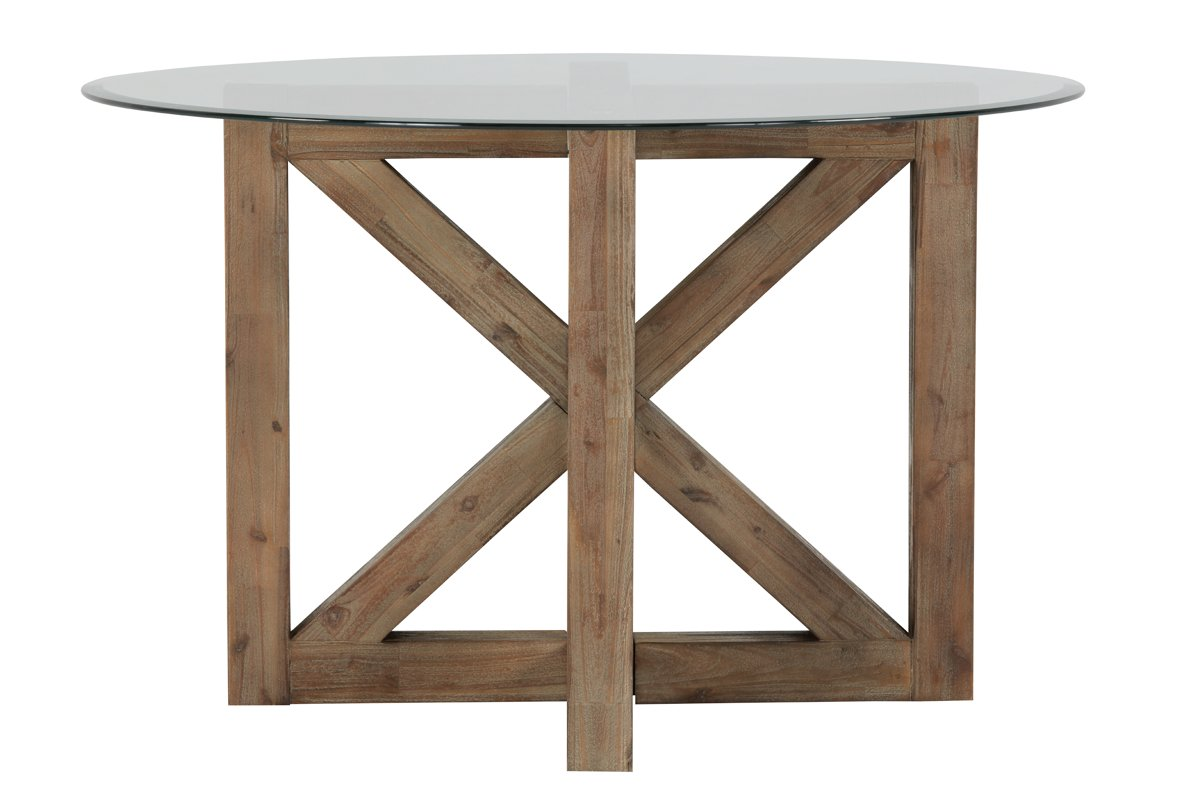 Hampton Light Tone Glass Round Table
