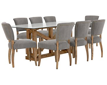 Hampton Rectangular Table & 4 Upholstered Chairs