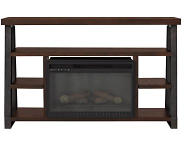 "Dakota Dark Tone 54"" TV Stand with Fireplace Insert"