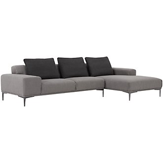 Hager Light Gray Fabric Right Chaise Sectional