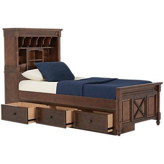 Big Sur Dark Tone Bookcase Storage Bed