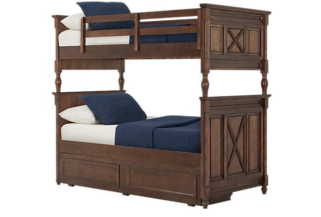 Big Sur Dark Tone Wood Bunk Bed Trundle Bedroom