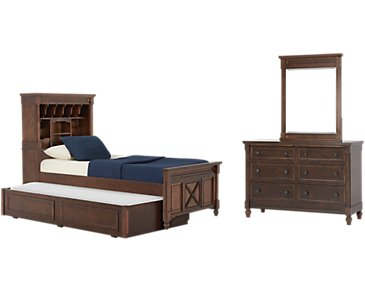 Big Sur Dark Tone Bookcase Trundle Bedroom