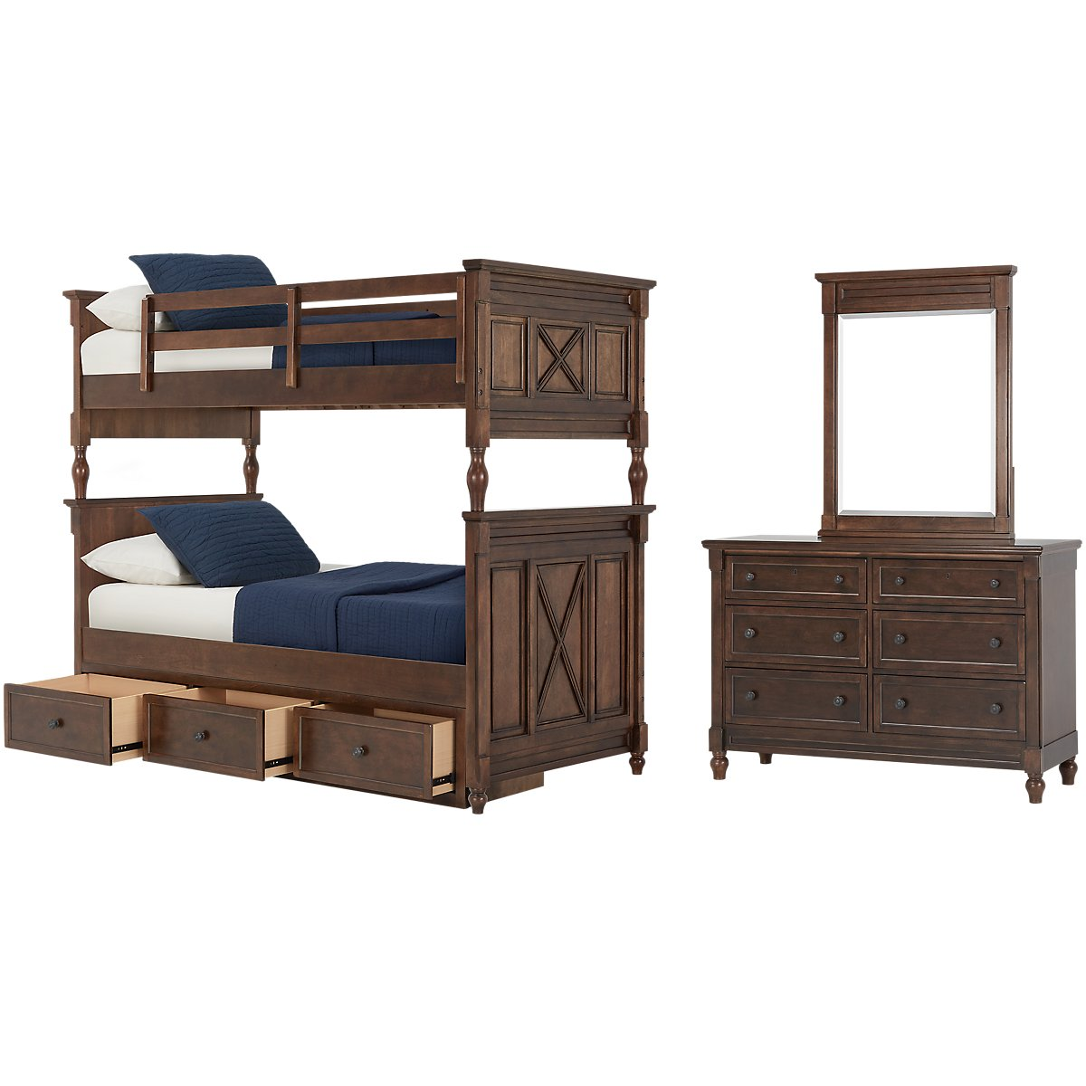 Big Sur Dark Tone Bunk Bed Storage Bedroom