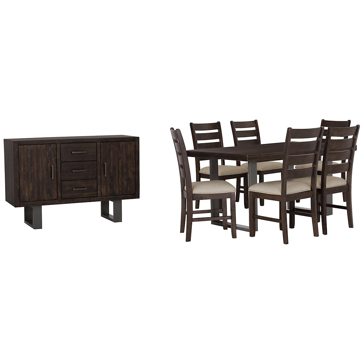 Sawyer Dark Tone Wood Rect Dining Room