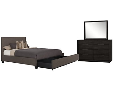 Madden Gray Upholstered Platform Storage Bedroom