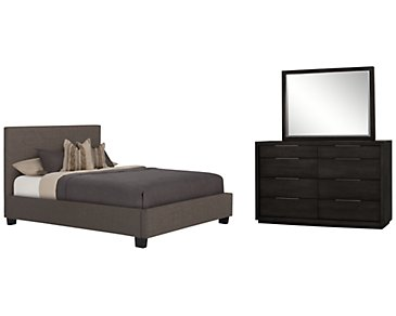 Madden Gray Upholstered Platform Bedroom