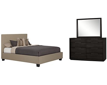 Madden Taupe Upholstered Platform Bedroom