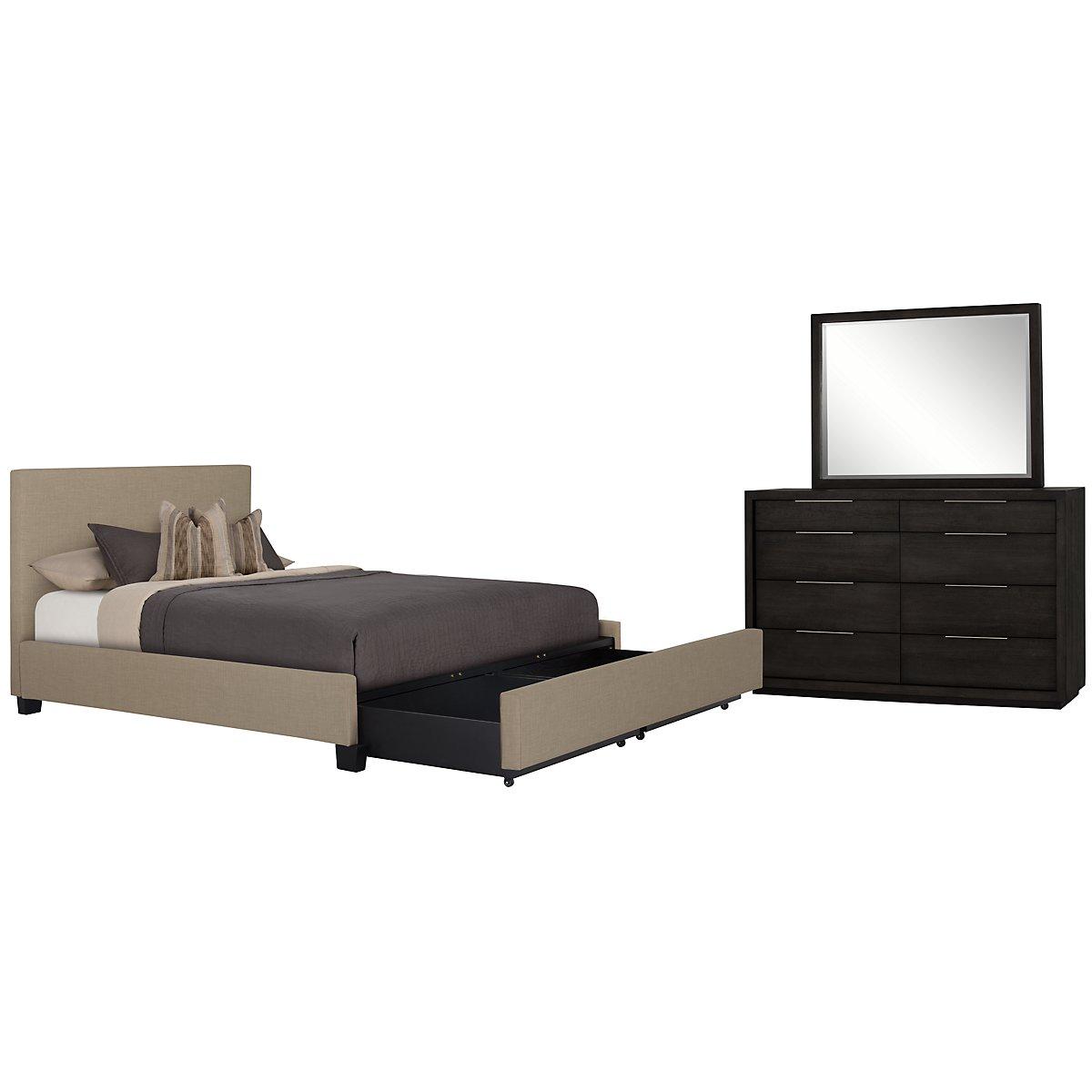 Madden Taupe Upholstered Platform Storage Bedroom