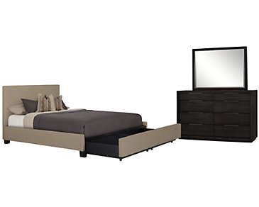 Madden Taupe Upholstered Platform Storage Bedroom