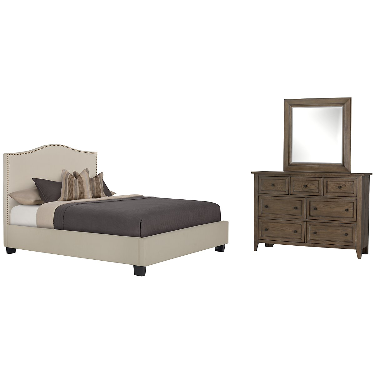 Dawson Beige Upholstered Platform Bedroom