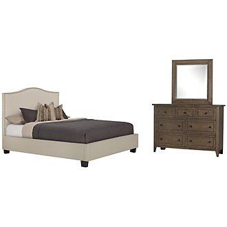 Dawson Beige Upholstered Platform Bedroom