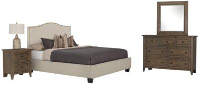 Superieur Dawson Beige Upholstered Platform Bed