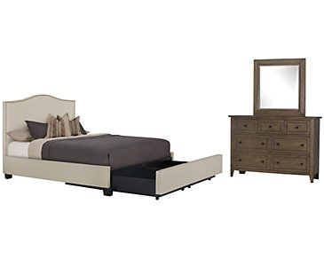 Dawson Beige Upholstered Platform Storage Bedroom