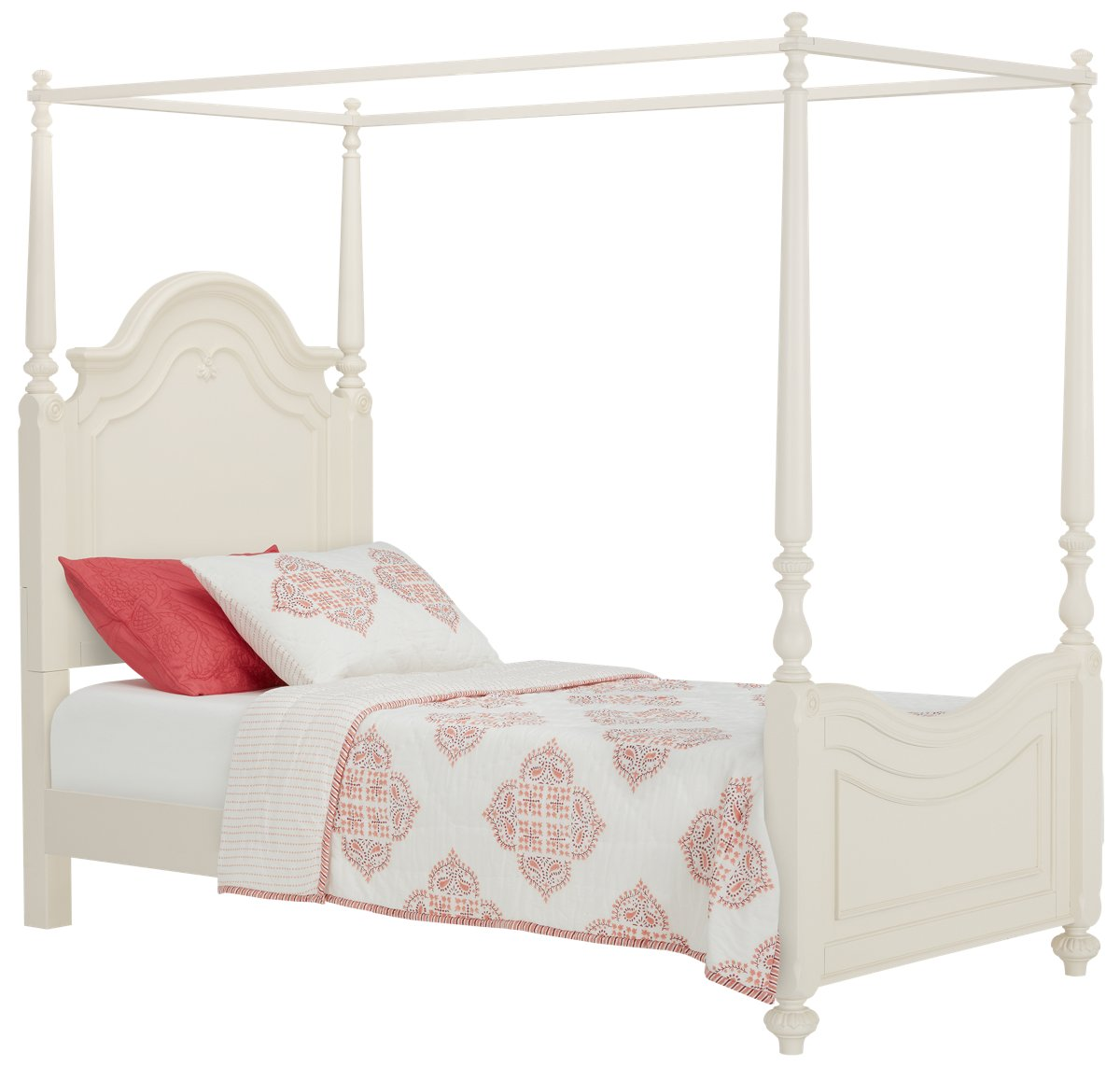 Charlotte Ivory Wood Canopy Bed