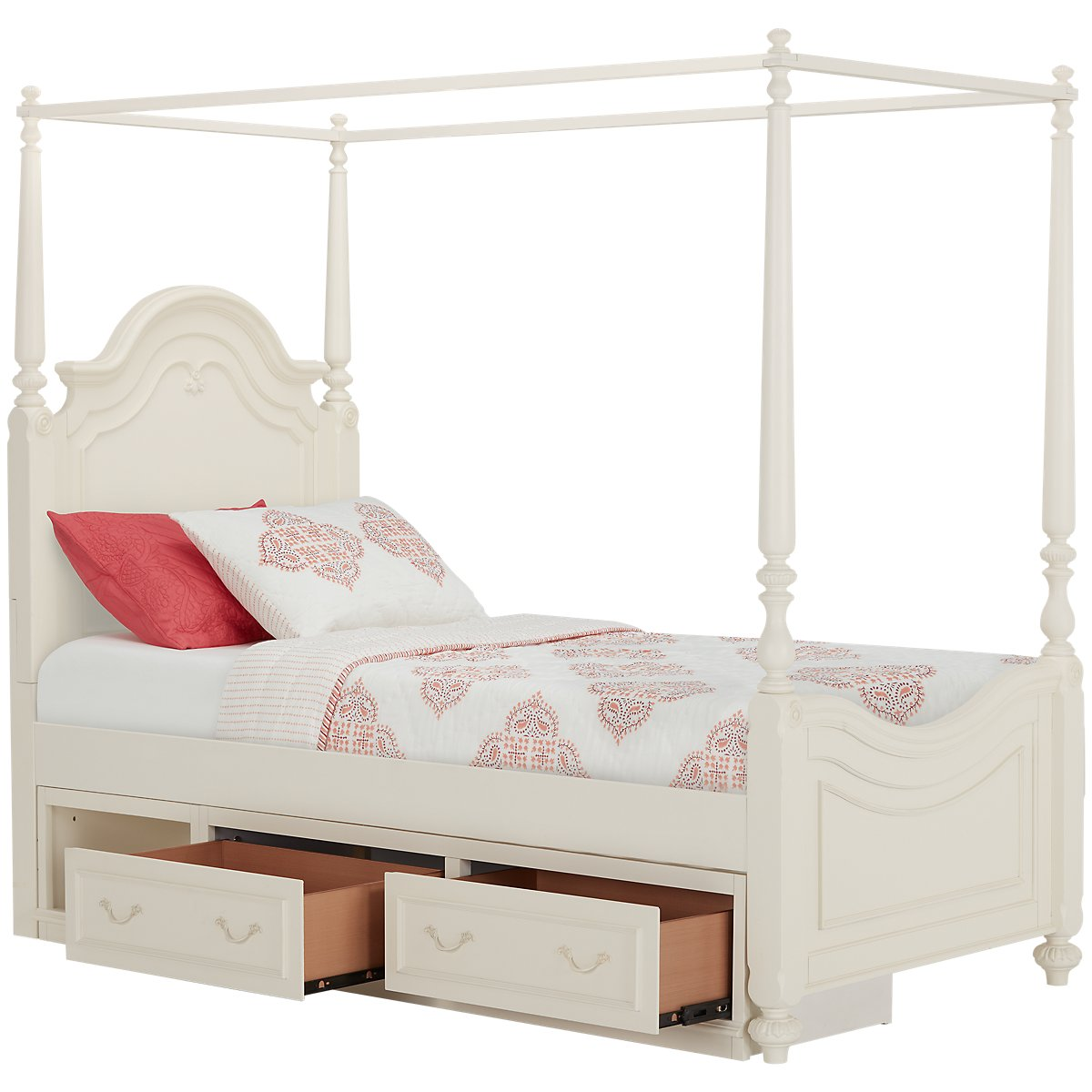 Charlotte Ivory Canopy Storage Bed