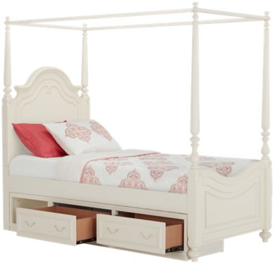 Charlotte Ivory Canopy Storage Bed  sc 1 st  City Furniture : storage canopy bed - memphite.com
