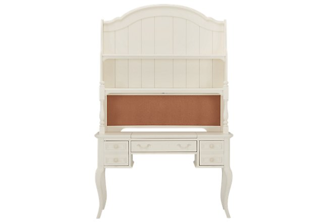Charlotte Ivory Wood Desk And Hutch