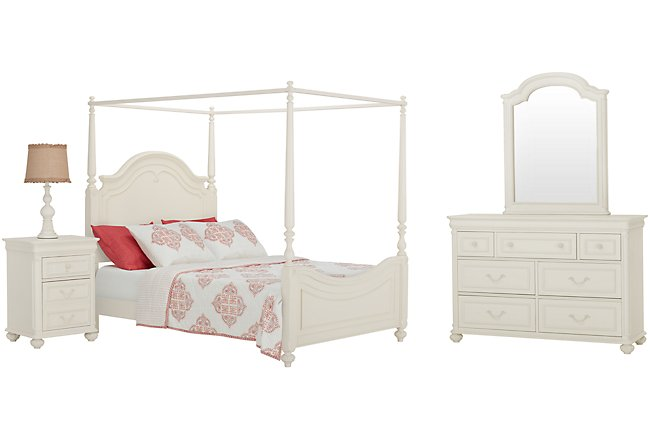 Charlotte Ivory Wood Canopy Bedroom
