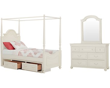 Charlotte Ivory Canopy Storage Bedroom