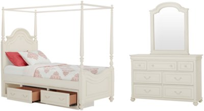 Charlotte Ivory Canopy Storage Bedroom  sc 1 st  City Furniture & City Furniture: Charlotte Ivory Canopy Bed