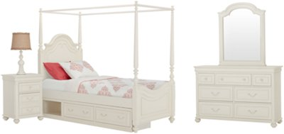 Charlotte Ivory Canopy Storage Bedroom. VIEW LARGER  sc 1 st  City Furniture & City Furniture: Charlotte Ivory Canopy Storage Bedroom