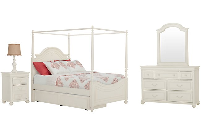Charlotte Ivory Wood Canopy Trundle Bedroom