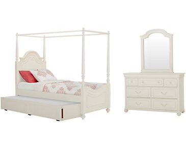 Charlotte Ivory Canopy Trundle Bedroom